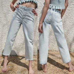 NEW Zara Z1975 High Waist Mom Fit Jeans Step Raw Hem Light Blue 4